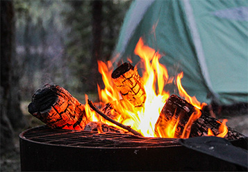 Close-up of campfire burning
